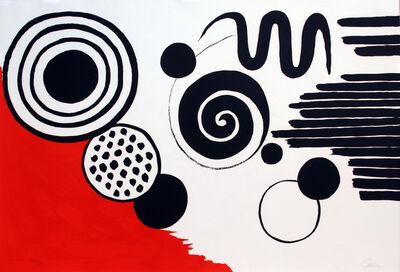 Alexander Calder, 'Composition with Black Spirals and Circle with Red', ca. 1970