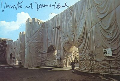 Christo, 'The Wall-Wrapped Roman Wall  - Porta Pinciana Delle Mure - (Hand Signed)', 1974