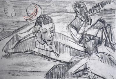 Ernst Ludwig Kirchner, 'Reclining Men with Hat and Houses in Landscape | Liegende Herren mit Hut / Häuser und Landschaft ', 1921