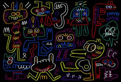 Jon Burgerman, 'Friends in neon', 2015