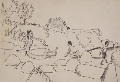 Ernst Ludwig Kirchner, 'Badende an Steinen (Fehmarn)', ca. 1912