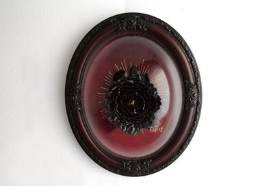 Lana Filippone, 'Black peony with crystal on red', 2019
