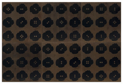 Donald Sultan, 'Fifty Four Black Button Poppies Oct 19 2015', 2015