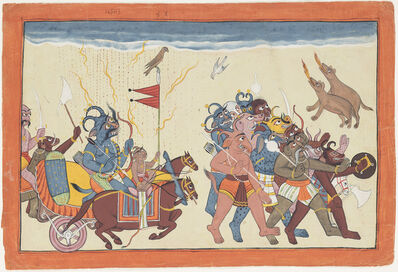 Unknown Artist, 'The demon Dhumaksha leads his army', ca. 1700