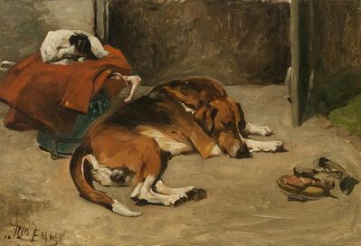 John Emms, 'Sleeping Hound & Terrier', 19th Century