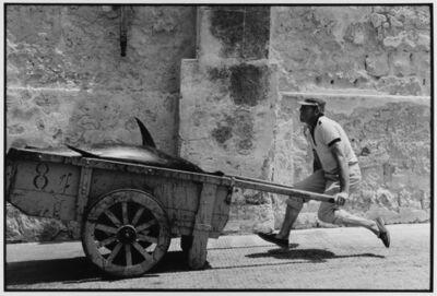 Leonard Freed, 'Fish Monger levitates Trapani, Sicily ', 1975