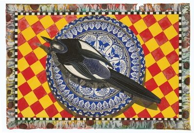 David Wharton, 'Blue Plate Series: Still life magpies'