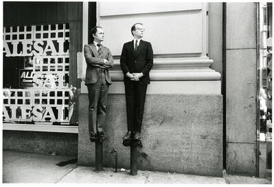 Paul McDonough, 'Two Men on Stand Pipes Watching Parade', 1975