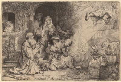 Rembrandt van Rijn, 'The Angel Departing from the Family of Tobias', 1641