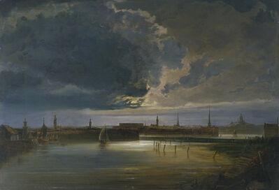 Peder Balke, 'Moonlit View of Stockholm', about 1850