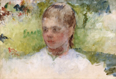Mary Cassatt, 'Tête de fillette, fond vert'
