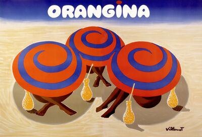 Bernard Villemot, 'ORANGINA - 3 Umbrellas on the Beach', 1984