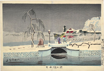 Kobayashi Kiyochika 小林清親, 'Benten Shrine at Ikenohata', ca. 1880