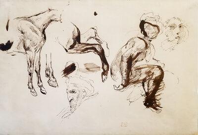 Eugène Delacroix, 'Study of Figures and Horses', ca. 1820