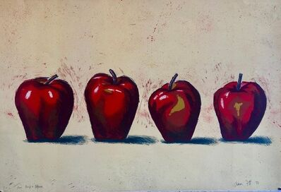 Aaron Fink, 'Original Boston Modernist Lithograph Aaron Fink Apples Pop Art Print Americana', 1980-1989