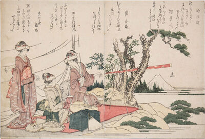 Katsushika Hokusai, 'Viewing Mt. Fuji with Telescope', 1804