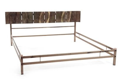 Luciano Frigerio, 'A brass bed frame with a molten bronze plates headboard', 1970 ca.