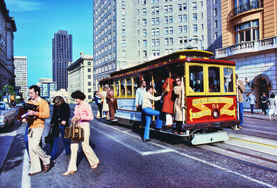 Mitchell Funk, 'Cable Car Nob Hill with People Existing and Entering', 1977