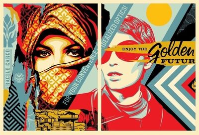 Shepard Fairey (OBEY), 'golden future for some set', 2017