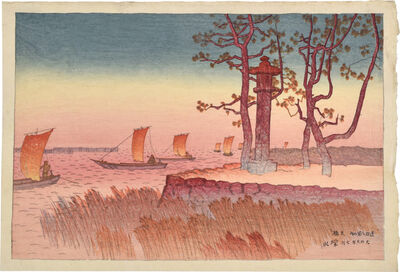 Itō Shinsui, 'Eight Views of Omi: Evening Glow at Yabase', 1917