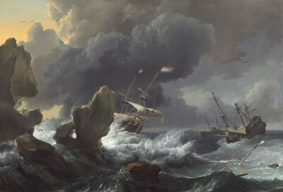 Ludolf Backhuysen, 'Ships in Distress off a Rocky Coast', 1667