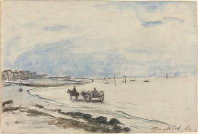 Johan Barthold Jongkind, 'Cart on the Beach at Etretat', 1862