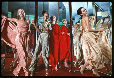 Harry Benson, 'Halstonettes: Karen Bjornsen, Alva Chinn, Connie Cook, and Pat Cleveland in Halston Dresses, New York', 1977