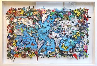 Kristjana S Williams, 'Blue Sea Lioness World Map', 2020