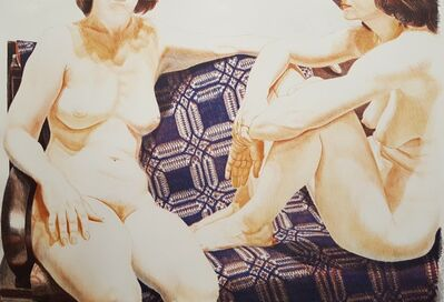 Philip Pearlstein, 'Two Nudes on Blue Coverlet', 1977