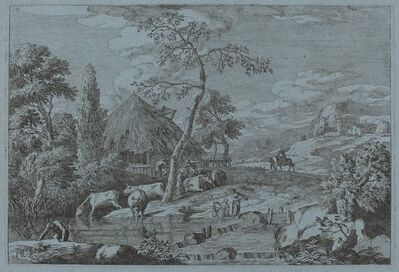 Marco Ricci, 'Cattle and Figures at a Farmyard Stream'