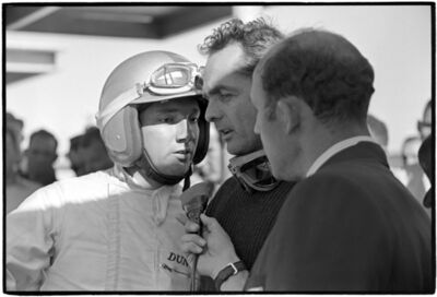 Al Satterwhite, 'Pedro Rodriguez & Phil Hill being interviewed by Stirling Moss', 1964