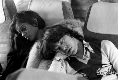 Michael Putland, 'Mick Jagger and Bianca Jagger asleep on the morning flight after The Rolling Stones 'End of Tour Party', Berlin', 1973