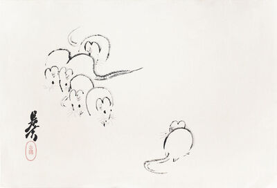 Shibata Zeshin, 'White Mice', ca. 1880