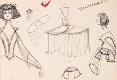 "Armando Barrios, 'Boceto vestuario para ballet ""Pavana"". Accademia Chigiana. Siena', 1974-1975"