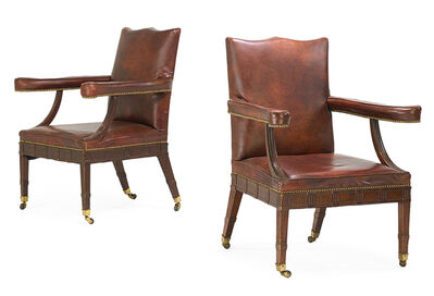 Style of George III, 'Pair George III Style Mahogany Library Armchairs', early 20th c.