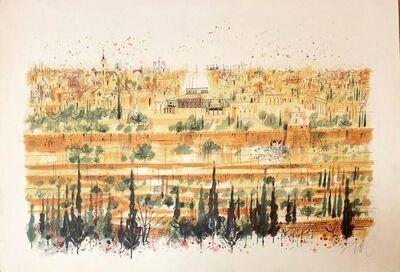 "Shmuel Katz, '""the Western Wall, Old City of Jerusalem"" Israeli Judaica Lithograph', 20th Century"