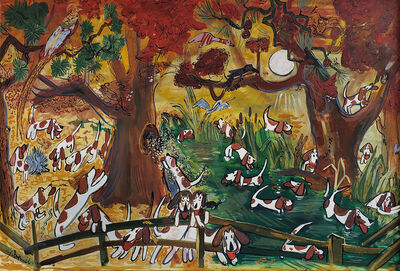 Ludwig Bemelmans, 'Dogs Hounds Foxhunt. Pheasant, Duck, Black Bird, Owl Squirrel Crane Porcupine Butterfly, Bees, Turtle, Snake,', 1960