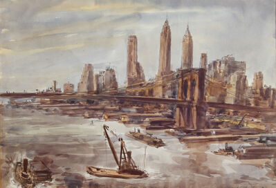 Reginald Marsh, 'Brooklyn Bridge and Lower Manhattan II', 1938