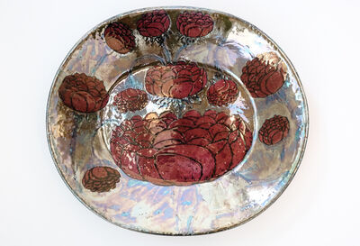Birger Kaipiainen, 'Tall plate in partially iridescent ceramic', ca. 1965