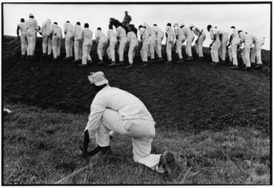 Danny Lyon, 'Hoe Sharpener and the Line, Ferguson Unit, Texas Department of Corrections', 1969
