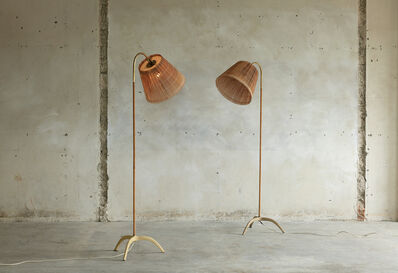 Paavo Tynell, 'Very Rare set of floor lamps model 9609 with original wood stripe shade', 1950s