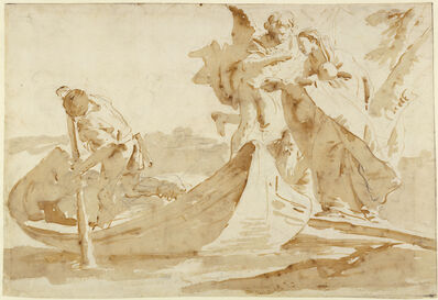 Giambattista Tiepolo, 'Flight into Egypt (recto), Various Studies (verso)', 1725-1735