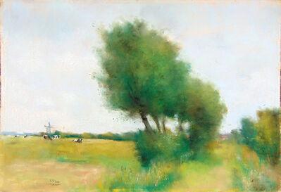 Lesser Ury, ' Landscape in Walcheren with Big Trees and Grazing Cows   Landschaft in Walcheren mit Bäumen und Weidenden Kühen', 1912