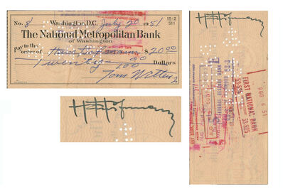 Hans Hofmann, 'Original Hand-Signed Bank Check by Hoffman, The National Metropolitan Bank of Washington', 1951