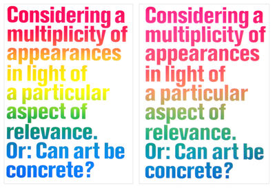 Olaf Nicolai, 'Considering a Multiplicity of Appearances in Light of a Particular Aspect of Relevance. Or: Can Art be Concrete?', 2008