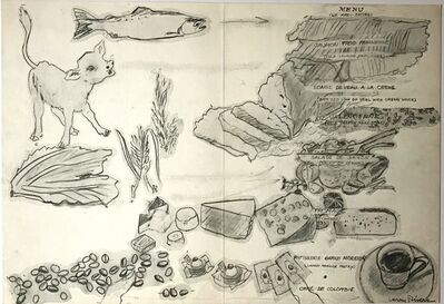 Larry Rivers, 'Untitled French Menu, Cafe de Colombie, Champs-Elysees, Paris (double-sided drawing)', ca. 1969