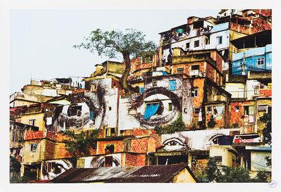 JR, 'Action dans la favela Morro da Providencia, detail, Arbre et Lune', 2009