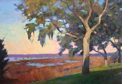 "Larry Horowitz, '""By The Inn"" oil painting of tree with brown marsh and blue water', 2019"