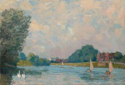 Alfred Sisley, 'The Thames at Hampton Court', 1874
