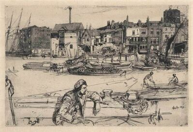 James Abbott McNeill Whistler, 'Black Lion Wharf (K. 42; G. 54)', 1859